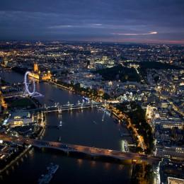 london aerial night shot