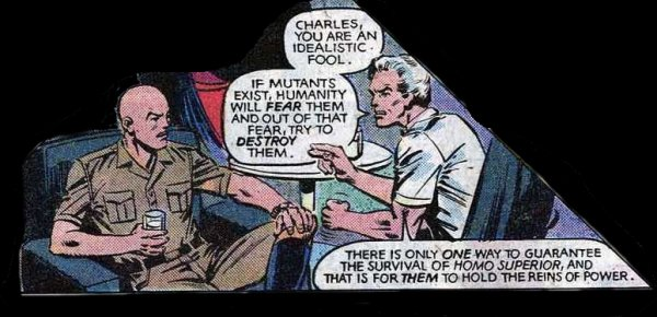 The contrary beliefs of Prof X and Magneto as shown in Uncanny X-Men 161.