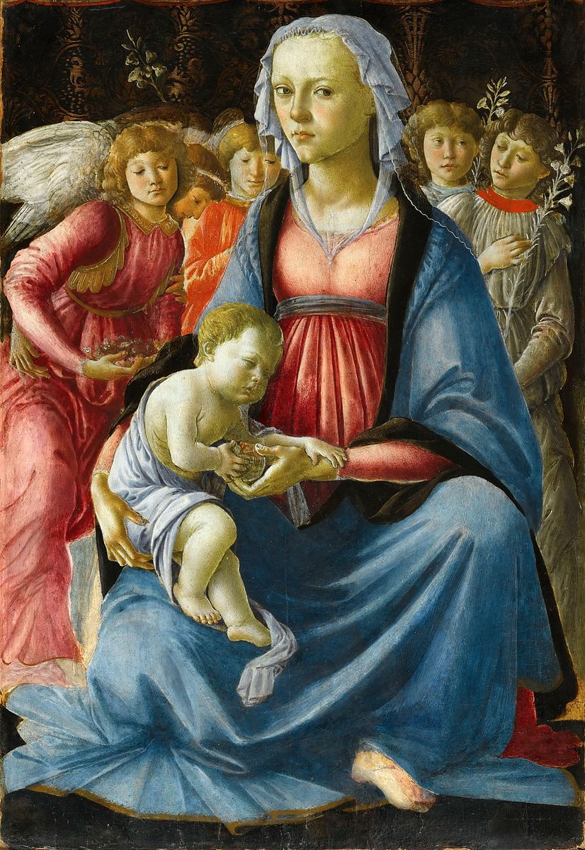 Madonna With Child and Five Angels by Sandro Botticelli (circa 1470) (notice the exposed neck and the curves of the breasts, an inconceivable and outrageous depiction at the time)