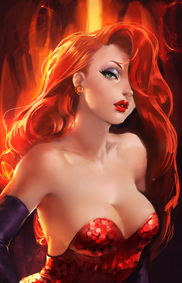 Even-hotter-than-usual Jessica Rabbit? (image by sakimichan – via imgur)