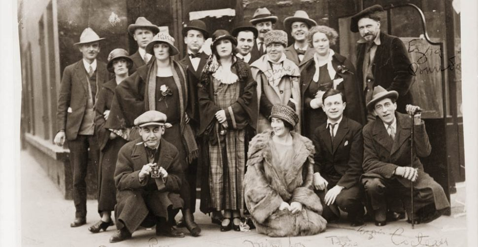 Group portrait of American and European artists and performers in Paris: Man Ray, Mina Loy, Tristan Tzara, Jean Cocteau, Ezra Pound, Jane Heap, Kiki de Montparnasse, c. 1920s